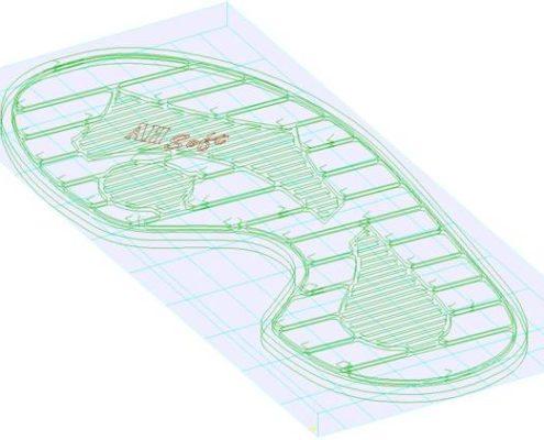 ConstruuCAM freesbanen voor een schoenzool