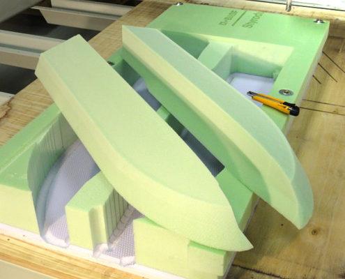 Foamvulling voor de romp van een een modelschip, 3D gefreesd