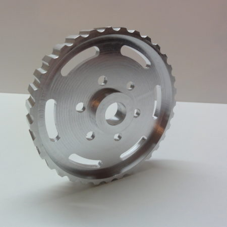 CNC voorbeelden: nokkenas-tandwiel van aluminium