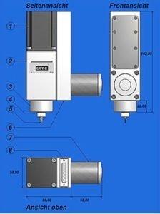 Technische weergave van de oscillerende tangentiële snij-module