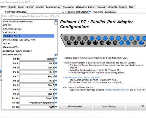 ESTLCAM controller-instellingen