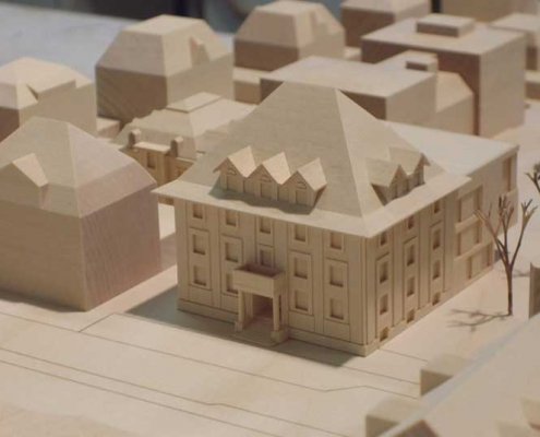 Houten maquette van een Raadhuis