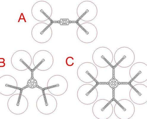 Verschillende layouts voor Y-Copter Multicopters
