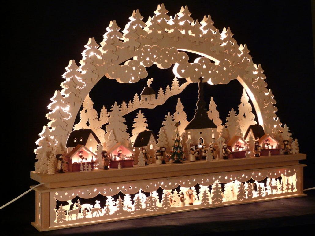 Lichtbogen voor een kerstmarkt